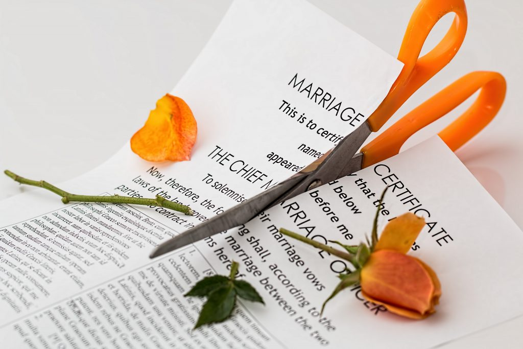 Marriage breakup cutting rose